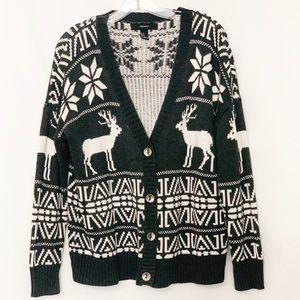 Forever 21 Deer Elk Holiday Cardigan Sweater